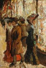 Helfferich F.W. - Window shopping at night, oil on panel 27.1 x 18.8 cm, signed l.l.