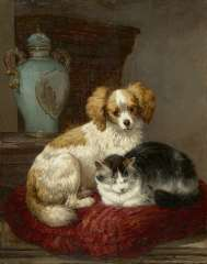 Ronner-Knip H. - Best friends, oil on panel 45.9 x 36.7 cm, signed l.r.