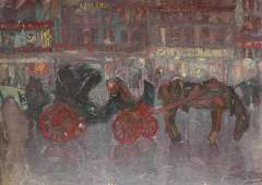 Niekerk M.J. - Waiting carriages by night, oil on board 61.3 x 84.5 cm, signed l.r.