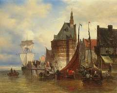 Bommel E.P. van - Moored sailing vessels near the Hoofdtoren of Hoorn, oil on canvas 42.5 x 53 cm, signed l.r. and dated on the reverse june 1877