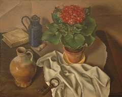 Breetvelt A. - A still life with a plant, jug and key, oil on canvas 60.4 x 75.1 cm, signed l.r. and dated '22 (key)