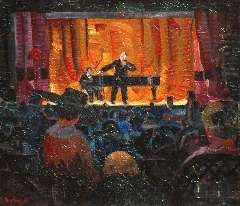 Bieling H.F. - The Cabaret Artistique of J.L. Pisuisse, oil on canvas 46.2 x 53.5 cm, signed l.l.