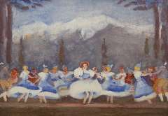 Maks C.J. - Tiroler ballet in the Bouwmeester Revue, Gouache on paper 48 x 68 cm, signed l.l. and painted ca. 1938