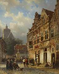 Springer C. - The 'Koopmanstraat' and Market, Brielle, oil on panel 50.1 x 40 cm, signed l.l. in full and l.r. with mon. and dated l.r. '54