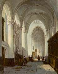 Buys G.M. - Interior of the Grote Kerk in Breda, with the memorial stone of Engelbert I of Nassau, oil on canvas 40.9 x 32.9 cm, signed l.l.