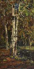 Bock T.E.A. - Birches, oil on panel 52.8 x 26.6 cm, signed l.l. and dated 9 maart '97