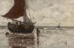 Munthe G.A.L. - Moored sailing ship along the coast, oil on canvas 62.9 x 96.4 cm, signed l.l.