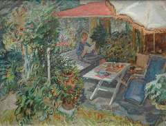 Sluijters jr. J. - A suny terrace with the artist's wife, oil on canvas 50.3 x 65.3 cm, signed r.c.
