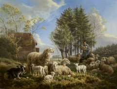 Ronner-Knip H. - Sheep with a shepherd in a landscape, olie op paneel 46.3 x 60.1 cm, signed l.r. and dated 1840