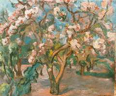 Wiegman M.J.M. - An orchard in blossom, oil on canvas 38 x 46 cm, signed l.r.