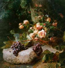 Haanen A.J. - A still life with roses and grapes, oil on canvas 102 x 88.3 cm, signed l.r.