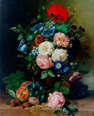 Ravenswaay A. van - A still life with flowers, fruit and insects, oil on canvas 51.2 x 41.4 cm, signed l.r.