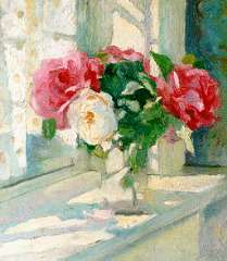 Dom P.L.C. - A still life with roses, oil on panel 37 x 33 cm, signed l.r. and dated 1915