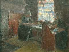 Benoit-Levy J. - Interior with Volendam women, oil on canvas 53.2 x 69.9 cm, signed l.r.