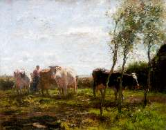 Maris W. - Milking time, oil on canvas 63 x 78.3 cm, signed l.l.