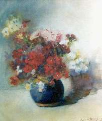 Willigen C.A. van der - Flowers in a blue earthenware pot, watercolour on paper 42 x 37.5 cm, signed l.r. and dated 1902