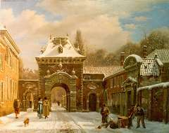Hove B.J. van - A view of the Grenadierspoort 'Binnenhof', The Hague,, oil on canvas 39.4 x 49.5 cm, signed l.l.