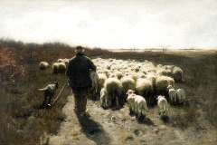 Mauve A. - A shepherd with his flock, oil on canvas 65 x 96.5 cm, signed l.r.