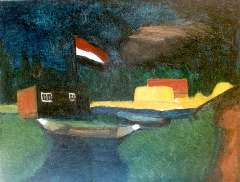 Wijngaerdt P.T. van - A landscape with a flag, oil on canvas 59.2 x 75.3 cm, painted circa. 1917 and te dateren ca. 1917