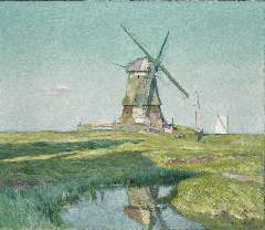 Sys M. - The end of a summer day (Volendammermeerpolder, Volendam), oil on canvas 60.5 x 70.8 cm, signed l.r. and dated 1918