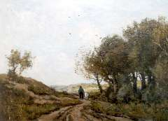 Bock T.E.A. - A goatheard on a path in the dunes, oil on canvas 42.8 x 58 cm, signed l.r.