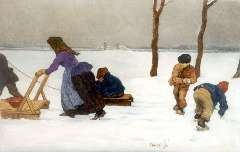 Roessingh L.A. - A winter landscape with children playing, oil on panel 21.4 x 32.4 cm, signed c.r. and dated 1908