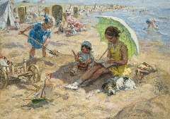 Zoetelief Tromp J. - Children playing on the beach of Katwijk, oil on canvas 68.3 x 95.9 cm, signed l.r. and reverse