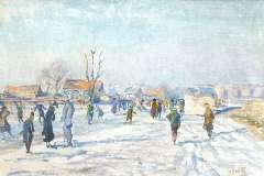 Wolter H.J. - Skaters on the Boerenwetering, Amsterdam, oil on canvas 40.5 x 60.6 cm, signed l.r. and carries studiostamp and painted in 1915