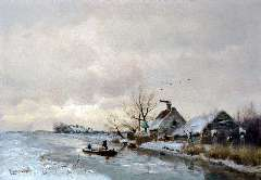 Apol L.F.H. - A view of a polder canal in winter, oil on panel 29.1 x 41.5 cm, signed l.l.