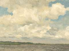 Tholen W.B. - Clouds in the sky, oil on canvas laid down on painters' board 30.3 x 39.9 cm, signed l.l.