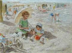 Zoetelief Tromp J. - A day at the beach, oil on canvas 30 x 40 cm, signed l.r. and on the reverse