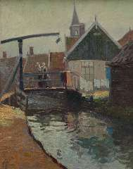 Schotel A.P. - A view of the Yellow Bridge, Volendam, oil on panel 41 x 32.7 cm, signed l.l.