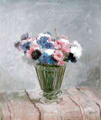 Kamerlingh Onnes H.H. - Flowers in a glass vase, oil on painters' board 25.7 x 30.1 cm, signed l.r. with monogram and dated '58