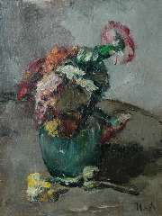 Moret C.S.A. - A flower still life, oil on canvas 40 x 30.4 cm, signed l.r.
