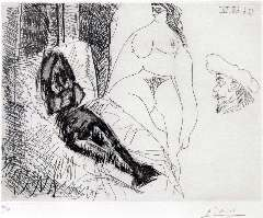 Picasso P. (RUIZ Y) - Deux Femmes, avec Voyeurs, etching 25.5 x 31.8 cm, signed l.r. (in pencil) and dated 13.6.68IV (mirror image)