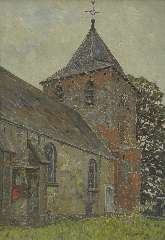 Zandleven J.A. - The church of Kootwijk, oil on canvas 61,2 x 43,8 cm, signed l.r.