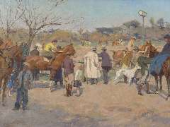 Wolter H.J. - Horseraces, Galopatoio, Borghese Park, oil on canvas 33.7 x 44.6 cm, signed l.r. and painted 1938 - 1940