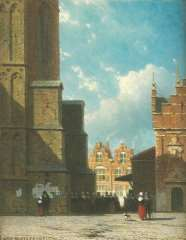 Weissenbruch J. - The Grote Markt, Haarlem, with St. Bavokerk and meat-market, oil on panel 19 x 14.9 cm, signed l.l.