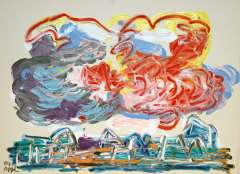 Appel C.K. - City with clouds, acrylic on paper 56.5 x 76 cm, signed l.l. and dated '84