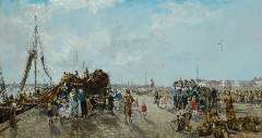 Mastenbroek J.H. van - A busy dag at Scheveningen harbour, oil on canvas 70 x 130 cm, signed l.l. and dated 1937