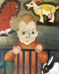 Berg E. - A young boy with his toy animals, oil on canvas 46.4 x 38.5 cm, signed l.l. and painted circa 1930