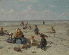 Akkeringa J.E.H. - Playing on the beach, oil on canvas 26.7 x 33 cm, signed l.l. and on the reverse and dated 1937 on the reverse
