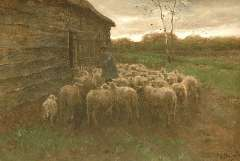Mauve A. - Het voeren van de schapen, olieverf op doek 55,5 x 80,7 cm, gesigneerd r.o.