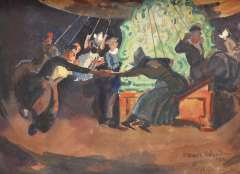 Sluiter J.W. - In the whirligig, Volendam, gouache on paper 26.8 x 33 cm, signed l.r. and dated '22