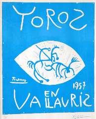 Picasso P. (RUIZ Y) - Toros en Vallauris 1957, linocut on paper 69.2 x 55.4 cm, signed l.r. (in crayon)