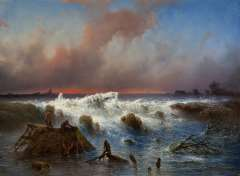 Hilverdink J. - The bursting of the Grebbedijk on March 5th 1855, oil on panel 37.1 x 50.1 cm, signed l.r. and dated 1855