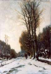 Mondriaan F.H. - A figure on a snow-covered path, oil on panel 37.7 x 26.3 cm, signed l.r.