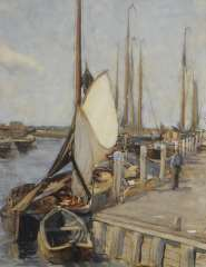 Arntzenius P.F.N.J. - The harbour of Elburg with moored fishing boats, watercolour on paper 56.9 x 43.5 cm, signed l.r.