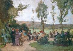 Akkeringa J.E.H. - The tea garden, oil on panel 17.4 x 24.6 cm, signed l.r.