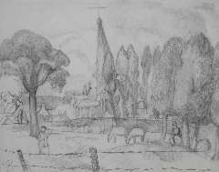 Kruyder H.J. - A Limburg landscape with a church tower, pencil on paper 26 x 32.8 cm, signed l.l. with monogram and painted in 1923-1927